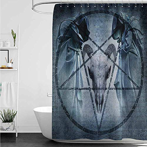 (AndyTours Polyester Fabric Shower Curtain,Horror House Artwork with Pentagram Icon Goat Skull Devil Dream Hooded Figure Exorcist Image,Shower Curtain with Hooks,W55x86L,Blue)