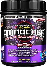AllMax Nutrition - Aminocore BCAAs Advanced Myotrophic Matrix Blue Raspberry - 400 Grams CLEARANCE PRICED