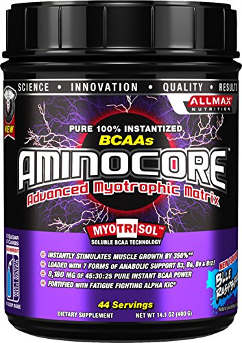 AllMax Nutrition - Aminocore BCAAs Advanced Myotrophic Matrix Blue Raspberry - 400 Grams CLEARANCE PRICED