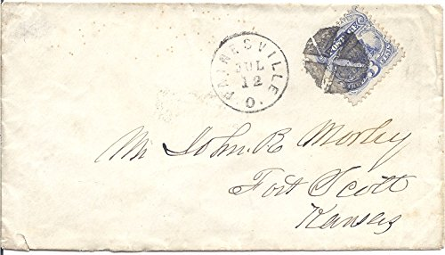 Us Postal Cover - 1869 US Postal Cover With 3 Cent Locomotive Postage Stamp Scott # 114 Fancy Cross Cancel