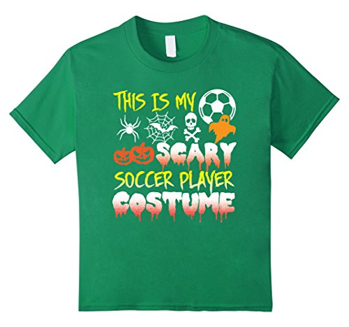 Kids This Is My Scary Soccer Player Costume Halloween T-Shirt 8 Kelly Green