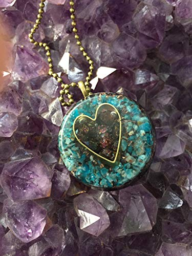 - Orgone Protector Pendant with Heart, Peacock Ore and Chrysocolla