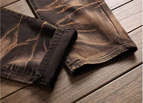 Uomo Moda Dritti Jeans Alla Classici Ssig Ragazzo Cowboy Cotone Blackgelb Da Ne In Autoscatto ZZw8qHzI