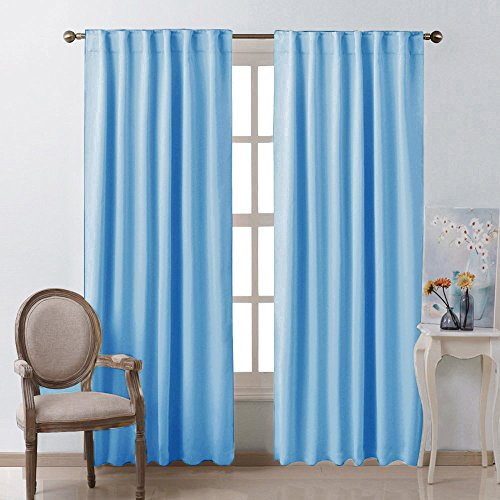Window Treatment Solid Blackout Curtains - (Blue Color) 52x84 Inch, 2 Panels, Blackout Drapery Panels for Kids Bedroom by NICETOWN (Tiffany Blue Curtain Panels)