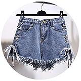 Vintage Tassel Denim Shorts Women Lace up Jeans Cute Shorts Streetwear Casual Party Shorts Female,X-Large,Blue
