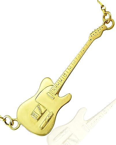 Collar para guitarra eléctrica de oro auténtico de 9 quilates, diseño de réplica: Amazon.es: Joyería