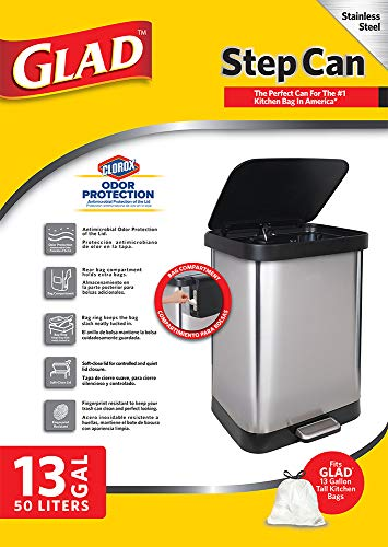 GLAD GLD-74506 Stainless Steel Step Trash Can with Clorox Odor Protection of The Lid   Fits Kitchen Pro 13 Gallon Waste Bags by Glad (Image #3)