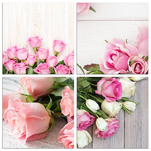 NAN Wind Modern 4 Piece Canvas Print Wall Art Painting For Home Decor Floral Still Life Of Pink Rose Flower in the Table Picture Paintings for for Home Decor (Rose Flower Picture)