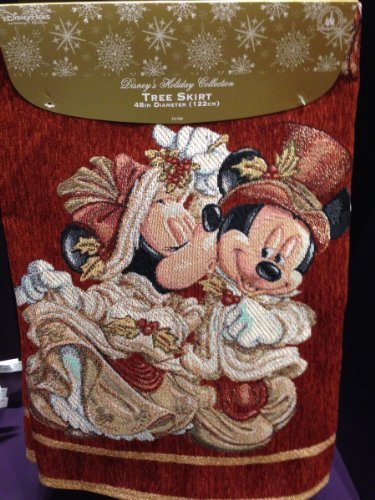 (Disney Park Mickey Minnie Mouse Victorian Tapestry Christmas Holiday Tree Skirt)