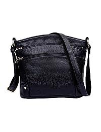 BURNING SECRET Women' Genuine Leather Handbag Mommy Bucket Crossbody Shoulder Bag