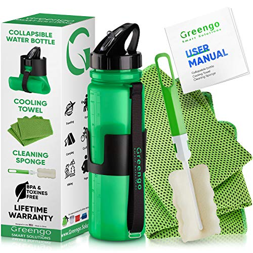 Greengo Smart Solutions Collapsible Silicone Water Bottle Set - for Hiking, Travel and Running - BPA Free - Bonus Cooling Towel and Sponge Brush