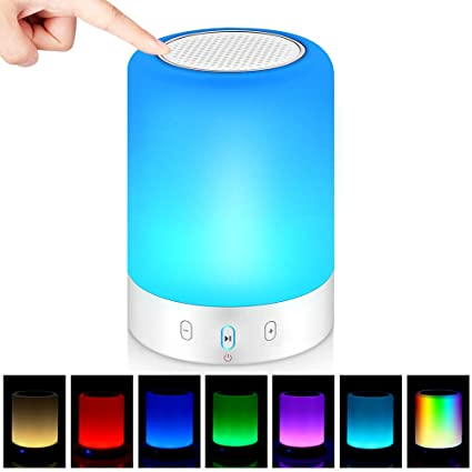 Amazon Com Bluetooth Speakers Poeces Hi Fi Portable Wireless Stereo Speaker With Touch Control 6 Color Led Themes Best Gift For Women And Children Upgraded Version Home Audio Theater