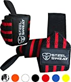 Kyпить Steel Sweat Wrist Wraps by Best for Weight Lifting, Powerlifting, Gym and CrossFit Training - Heavy Duty Support in Sizes 18