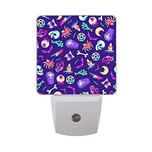 Horror Moon Halloween Skull Zombies Pattern 2PCs Plug in LED Night Lights Auto Sensor Dusk to Dawn Decorative Night for Bedroom, Bathroom, Kitchen, Stairs,Babys Room