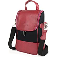 Vetelli Wine Carrier / Wine Tote Bag - Luxury Leather Wine / Champagne Case. Insulated Cooler / Chiller Case for 2 Bottles. Perfect Travel Accessory with Adjustable Travel Strap. Great Gift
