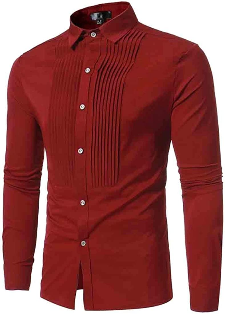 Cromoncent Mens Long Sleeve Turn Down Button Front Shirts