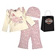 Harley-Davidson Baby Girls' Floral 3 Piece Gift Set w/Gift Bag, Cream 2503543