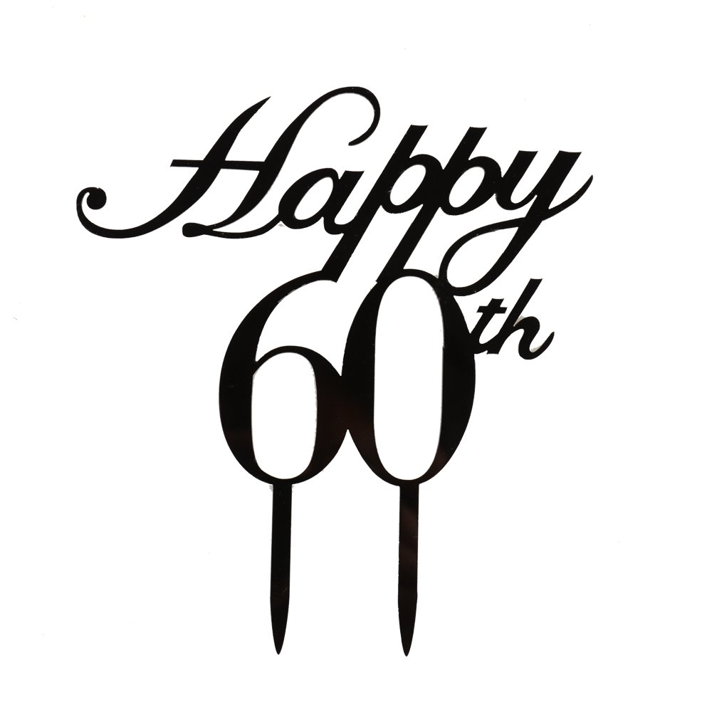 Happy 60th Cake Topper,60th Birthday/ Wedding Anniversary Party Decorations-Black Color