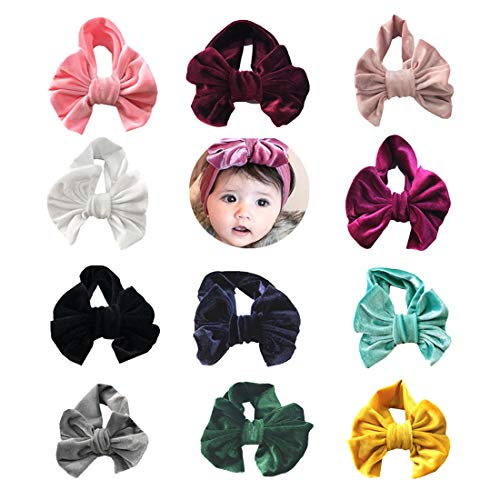 WZT 11 Pcs Baby Nylon Elastic Knotted Headbands Baby Head Wraps Baby Bling Bows (11 PCS)