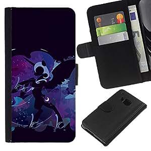 HTC One M9 , la tarjeta de Crédito Slots PU Funda de cuero Monedero caso cubierta de piel ( Pony Unicorn Blue Fairytale Art Drawing)