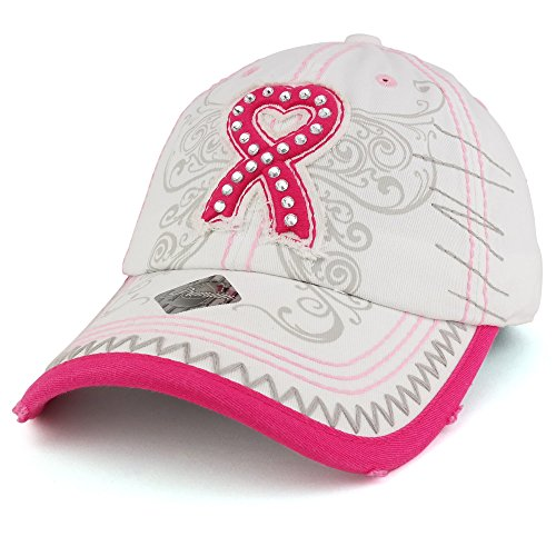 Trendy Apparel Shop Breast Cancer 3D Pink Ribbon Embroidered Cotton Baseball Cap with Frayed Bill - White by Trendy Apparel Shop