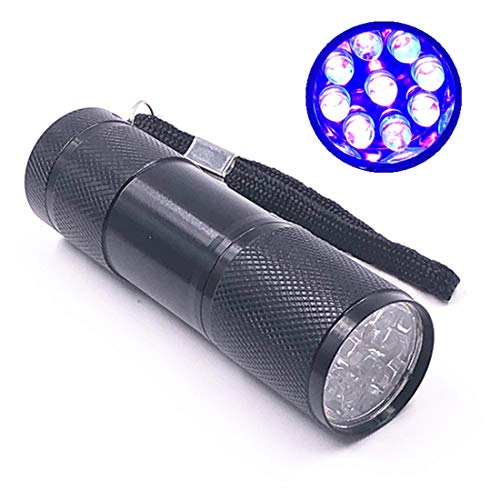 (9 LED UV Flashlight, 395nm UV Torch Lights for Pet Urine Detector, Money Checker,Scorpions, Bed Bugs,Curing UV Glue (3 x AAA Batteries Not Included) (black))