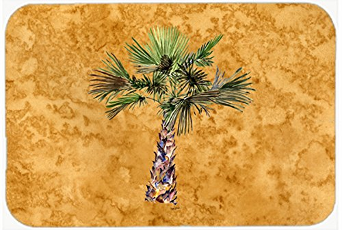 multicolor 24H X 36W Carolines Treasures 8706JCMT Palm Tree on Gold Kitchen or Bath Mat 24x36