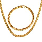 U7 Jewelry Stainless Steel Twisted Rope Wheat Chain Necklace With Bracelet,3mm-9mm Width,8.3 Inches Bracelet/18-30 Inches Necklaces