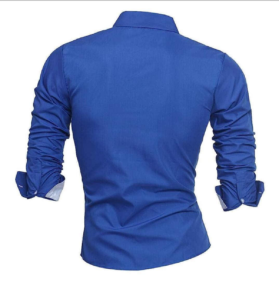 Keaac Mens Dress Shirt Long-Sleeve Autumn Print Casual Slim Lapel Top Blouse