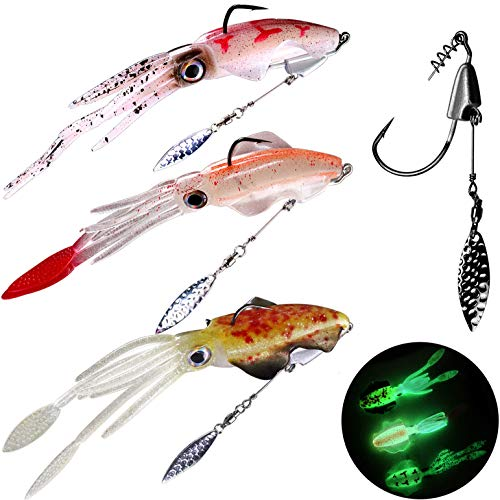 thkfish Squid Lures Saltwater Glow LuminousSquid Fishing Lures with Swimbait Hooks Weighted Underspin Hooks Blade Jig Head 3pcs Squid Lures 3pcs Weighted Blade Hooks