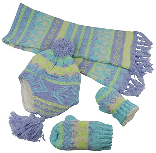 N'Ice Caps Big Girls Sherpa Lined Printed Hat/Scarf/Glove Knitted Accessory Set (Purple/Light Turq/Multi - Mittens, 4-7yrs)