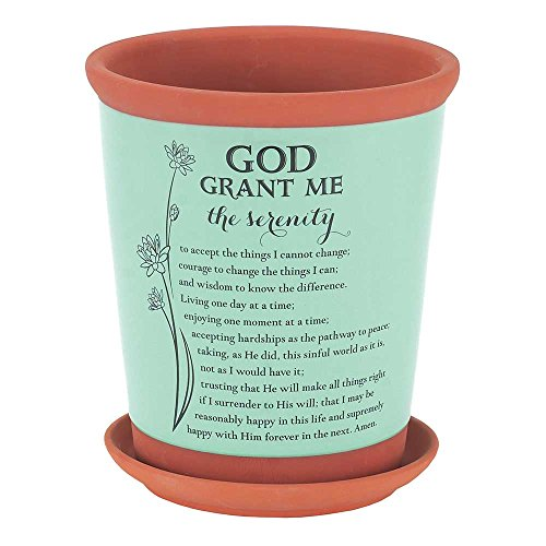 God Grant Me Serenity Poem Teal Green 7 x 8 Terra Cotta Flower Pot with Tray Decorating Terra Cotta Pots