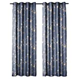"Jennifer Taylor Home, Curtain Panel, Blue Emboidred, Floral, 50"" x 84"""