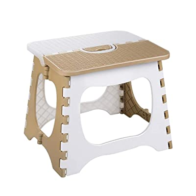 LOAZRE Thick Plastic Folding Step Stool, Bath Stool, Ottoman, Conpliant with Family, Travel, Fishing, Bathroom, etc.(White + Beige) : Baby
