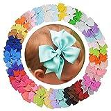 DEEKA 40PCS 3'' Pinwheel Grosgrain Ribbon Clips Bows Solid Colors Alligator Clips Hair Bows For Baby Girls