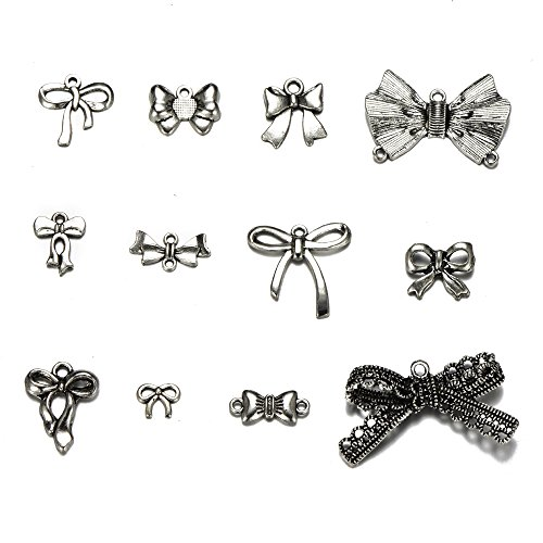 (24pcs Mixed Antique Silver Plated Bow Tie Handmade Charms Pendant for DIY Jewelry Making Bracelet Necklace(24pcs-Bow Tie))