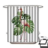 Flip Flop Shower Curtain longbuyer Fabric Shower Curtain Pink Flamingo with Green Tropical Monstera Leaf Illustration Bird Vector on White Background Shower CurtainW72 x L72