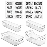 organizing a pantry  Kitchen Storage Organizer Bin Set with 16 Identification Labels, Trays with Built-In Handles - for Pantry, Cabinets, Shelves, Refrigerator - BPA Free - 3 Size Organizers, Set of 4 - Clear