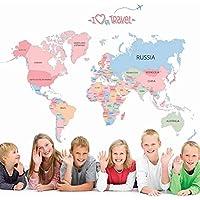 ملصقات جدارية لخريطة العالم الملونة، ملصقات جدارية قابلة للإزالة واللصق ملصقات جدارية للأطفال تعلم غرفة نوم الأطفال غرفة…