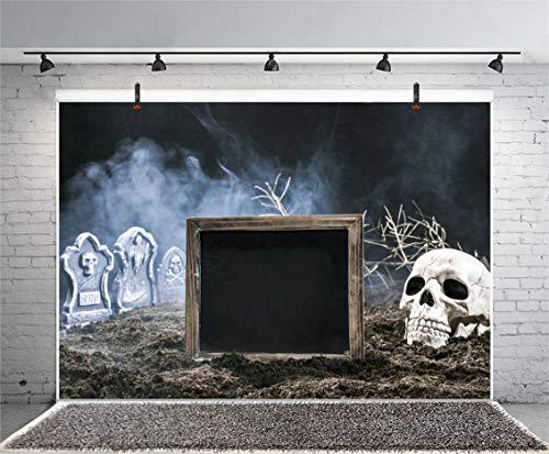 Leyiyi 7x5ft Happy Halloween Photography Backdrop Gothic Banner Grave Stone Skull Tomb Vintage Conffin Rustic Wooden Signboard Background Dark Night Gloomy Fog Earth Photo Portrait Vinyl Studio Prop -
