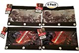 4 -pack Star Wars Episode 7 - The Force Awakens 3-Ring Pencil Case / Pouch is great to keep pens, pencils, markers, erasers, and more in one bag. For Party Favors / Party Giveaways / Goodie bags.