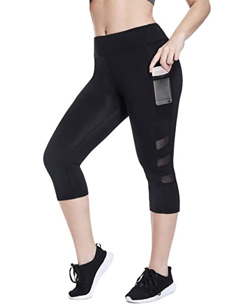 c5a6c4997bd1 High Waisted Cropped Workout Leggings with Pockets Women Capri Leggings  with Mesh Cutouts Black