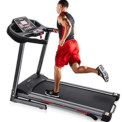 Merax Heavy Duty Electric Folding Treadmill Running Jogging Machine, Shock-Absorbing Double Layer Running Board, Large LCD Panel with Phone/Pad/Cup Holder