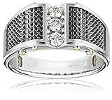 Oro blanco de 14 k para hombre con detalle en negro y anillo de diamante en acabado pulido (1/3 cttw, color HI, claridad I1-I2), talla 11