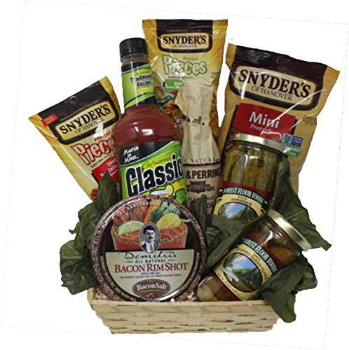(Bloody Mary Mix Gift Set With Mixer Card, Pretzels, Rim Salt, Asparagus, Olives | Bloody Mary Gift Basket)