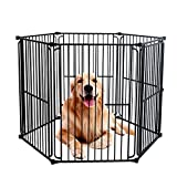 LEMKA Pet Dog Playpen Kennels, Pet Dog Exercise Playpen Pet Courtyard Kennel Foldable Steel Crate Wire Metal Cage 6 Panels - 48 inches
