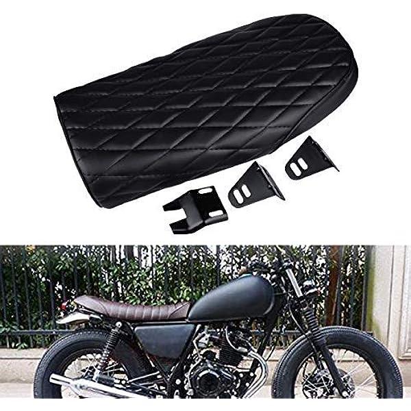 de color negro y para motocicletas Honda universal de estilo vintage Cafe Racer Sill/ín KaTur acolchado plano