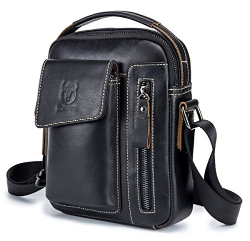 Genuine Leather Men Bags Small Shoulder Crossbody Bag for Men Everyday Casual Travel Messenger Bag Handbag (black) by BULLCAPTAIN