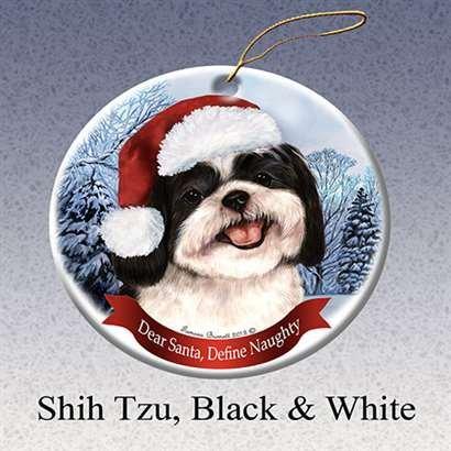 Dog in Santa Hat Porcelain Hanging Howliday Ornament