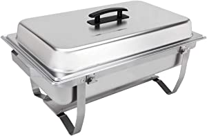 Sterno Products 70153 Foldable Frame Buffet Chafer Set, 8 qt, 8 quart, Silver (Renewed)